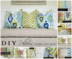 How to make a pillow with glue! The easiest pillow tutorial on Pinterest!