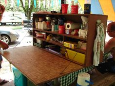 """This is our """"kitchen"""" when we go camping. My Dad made this at least 40 years ago. He and Mom gave it to us. Wouldn't want to go camping without it. So handy."""