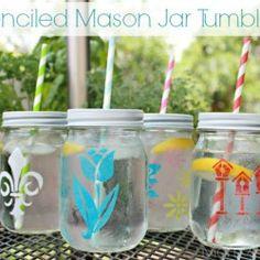 DIY - Stenciled Mason Jar Tumblers <3 SO Cute!