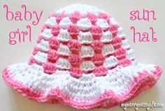 Free crochet pattern for a granny stitch sun hat for a baby girl