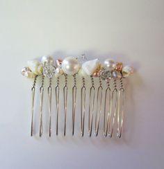 Seashell Bridal Haircomb with Swarovski Pearls and crystals