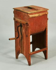 Early pine red painted butter churn, with mechanical crank, 19th C. ~♥~