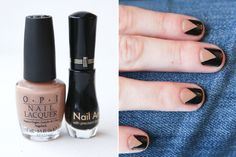 Split Nails—This chevron design is a way sophisticated take on the reverse French manicure.