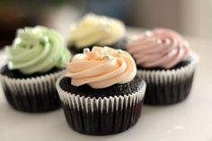 Chocolate Cupcakes With Pastel Colored Buttercream