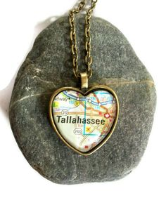 Tallahassee, Florida Map Necklace