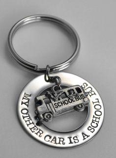 "School Bus Driver key chain ""My other car is a school bus."""