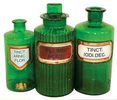 emerald glasses | 532: Drug store apothecary jars (3), emerald green glas : Lot 532