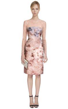 Fluid Garden Mikado Long Sleeve Dress by Valentino Now Available on Moda Operandi