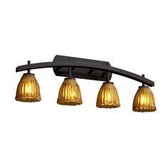 "GLA-8594-56-AMBR-DBRZ - Veneto Luce Archway 36"" Bronze & Amber 4-Light Tulip Bathroom Light by Justice Design Lighting"
