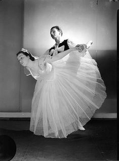 Rachel Cameron and Henry Legerton in the Kirsova Ballet Les Sylphides, Max Dupain Studio, Sydney, between 1941-1944 / photographer Max Dupain. State Lib NSW