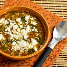 Slow Cooker Vegetarian Greek Lentil Soup with Tomatoes, Spinach, and Feta. For Phase 1 of the #FastMetabolismDiet, just skip the cheese on top!