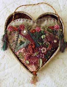 Beaded Embroidered Cloth Heart
