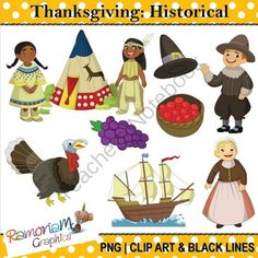 Thanksgiving - Historical Clipart from RamonaM Graphics on TeachersNotebook.com -  (30 pages)  - This set depicts some of the historical elements that relate to the celebration of Thanksgiving. Each image is PNG and 300dpi in Black & White, colored with colored outlines and colored with black lin