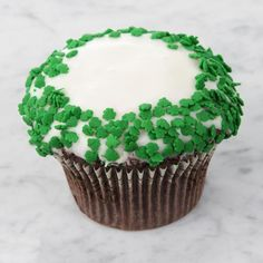 St. Patrick's Day Cupcake with shamrock sprinkles!