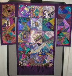Kimono-shaped crazy quilt.  Love these colours.