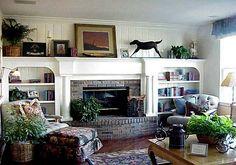 Bookshelf Decoration on Fireplace Design