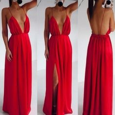 Sexy Deep V Neck Spaghetti Strap Sleeveless Backless Front Split Red Dress