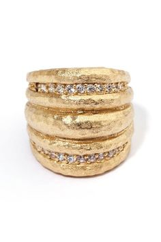 18k gold clad and cz domed band