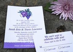 Grape Bunch Watercolor Wedding Invitation for a vineyard wedding. - Wine Country Occasions, www.winecountryoccasions.com