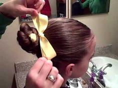 Braided Bun with Ribbon video tutorial by CuteGirlsHairstyles.  So easy!