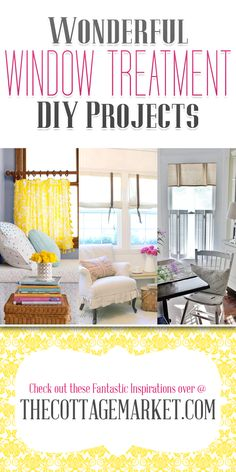 Wonderful Window Treatment DIY Projects -- OH do I need to look into these!! My windows are completely bare! :/