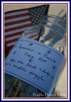Fundraising: Have a puzzle, broken up, put in jar with a cute label explaining. Donators sign the name on the back side. The child will see some of those who were a part of their adoption process!