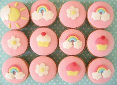 Fondant cupcakes! @Jordan Moe you wanted girlie. Here's some inspiration for us.