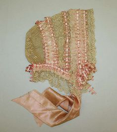 American silk with ribbon embroidered trim bonnet 1845-50