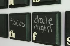 chalkboard fridge magnet calendar-- would be good diy -- 5x5 wood plaquea painted with chalkboard paint with white decal lettering and magnetic strips on back