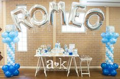 What a great display at a baby boy baptism!  See more party ideas at CatchMyParty.com!  #baptism #partyideas