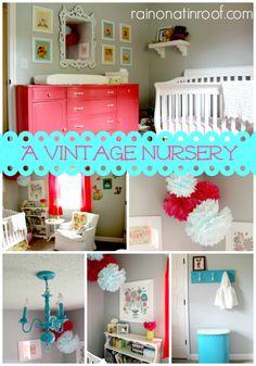 Ways to make a nursery vintage looking! A Vintage Nursery {rainonatinroof.com} #vintage #nursery