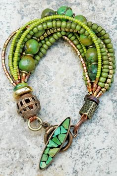 Bracelet, green glass, turquoise beads, brass and copper beads. XO Gallery