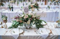 Romantic centerpieces + gold table details