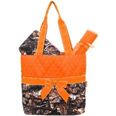 New Design Camo Quilted 3pcs Diaper Bag-orange.