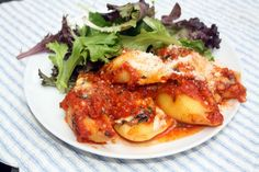 Stuffed pasta shells on a wet and miserable night.
