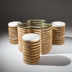 3D - Coffee table and stools | DesignRulz