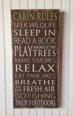 Cabin Rules Typography Art Sign  Distressed  Subway by WordWhipped, $60.00