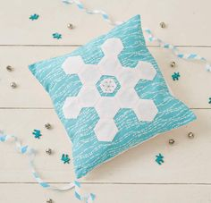 Hexagon Snowflakes Cushion