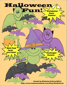 Halloween Bundle! MathTask Cards! Writing! Language Arts! Early Finishers! from Kimberly Sullivan on TeachersNotebook.com -  - This Halloween bundle is great for centers, early finishers, small groups, and review. It has task cards, word problems,worksheets, + a lesson plan for your students to share their Halloween stories!