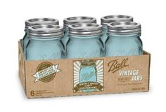 I love these vintage blue Ball jars!! blue mason jars, ball jars, anniversary, canning jars, heritag collect, collect pint, pint jar, kitchen dining, home kitchens