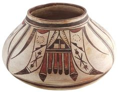 Historic Polacca Polychrome Jar with Classic Eagle Tail Motif c.1880