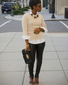 love leather pants and the preppy top
