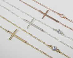 Kelly Ripa Sideways Cross Necklace with Bezel Set by gemsinvogue, $40.00