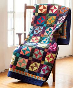 Gather your solid scraps or purchase fat quarters-either way, be sure to have plenty of colors to make your version of this dynamic time-tested pattern. This quilt, Grandma's Broken Dishes by Diane Tomlinson, is fat-quarter friendly.