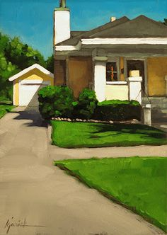 "Karen Jurick painting inspired by her drive along the Lincoln Highway, ""Grand Island Bungalow, Nebraska"""