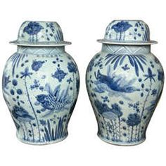 Large Pair of Chinese Blue and White Porcelain Jars
