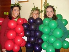 Being a bunch of grapes is easy!  Just wear a green or purple shirt, inflate matching balloons and safety pins to fasten them on your shirt.  Easy as pie!  Add some leaves in your hair, if you like :)
