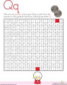 Worksheets: Letter Maze: Q
