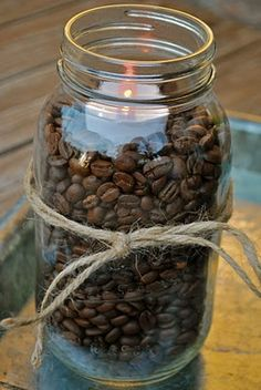 Love this idea. Fill the mason jars with coffee, candy corn, red hots...... and the list goes on.