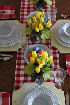 It's Beginning to Look a lot like Easter! - buffalo check and yellow tulips